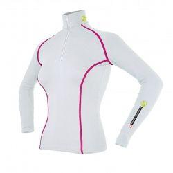 Base Layer « AIGUILLE VERTE » Femme Blanc/Framboise  - Le Base Layer zippé femme « Aiguille Verte » de Natural Peak®Vous offre