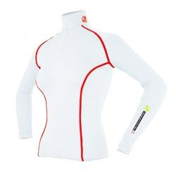 Base Layer « AIGUILLE VERTE » Femme Blanc/Rouge (XS - S - M)  - Le Base Layer zippé femme « Aiguille Verte » de Natural Peak®Vo