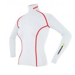 Base Layer « AIGUILLE VERTE  ESF » Femme Blanc/Rouge  - Le Base Layer zippé femme « Aiguille Verte ESF » de Natural Peak®Vous o