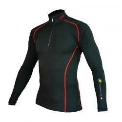 """Base Layer """"Pointe Blanche ESF"""" Men Black/Red  - «Pointe Blanche ESF» Man's Base Layer zipper by Natural Peak® Offers you ex"""
