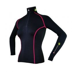 """copy of Base Layer """"AIGUILLE VERTE"""" Woman Black/Raspberry  - «Aiguille Verte»Woman's Base Layer zipper by Natural Peak®  Offer"""