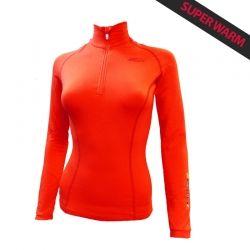 Base Layer « AIGUILLE VERTE » Femme Orange  - Le Base Layer zippé femme « Aiguille Verte » de Natural Peak® Super WarmVous offr