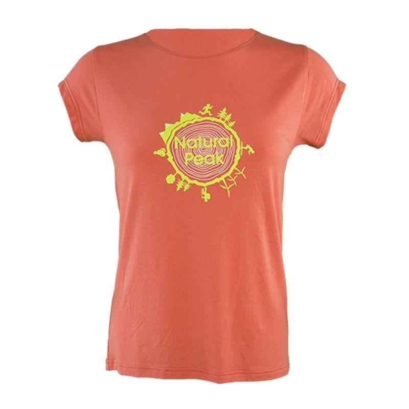 """Tee-Shirt """"LA BOURGEOISE Around The World"""" Frauen Coral  - Kurzarm-Damen-T-Shirt """"Bourgeoise"""" mit """"Around the World"""" -Motiv von"""