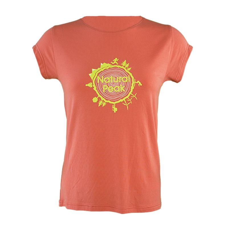 Tee-shirt « LA BOURGEOISE Around The World » Femme Corail  - Tee-shirt femme manches courtes « Bourgeoise » motif « Around the W
