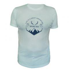 "Tee-shirt ""BELLA CHA Great Adventure"" Men White  - «Pointe de Bella Cha» man short sleeve tee-shirt pattern ""Great Adventure"""