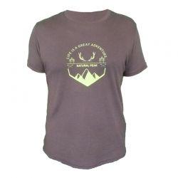 "Tee-shirt ""Bella Cha Great Adventure"" Men Brown  - «Pointe de Bella Cha» man short sleeve tee-shirt pattern ""Great Adventure"""