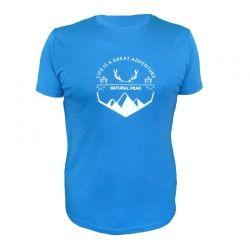 "Tee-shirt ""Bella Cha Great Adventure"" Men Blue  - «Pointe de Bella Cha» man short sleeve tee-shirt pattern ""Great Adventure"" b"