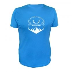 Tee-shirt « BELLA CHA Great Adventure » Homme Bleu (XXL)  - Tee-shirt homme manches courtes « Pointe de Bella Cha » motif « Grea