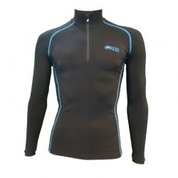 """Base Layer """"Pointe Blanche"""" Men Black/Blue  - «Pointe Blanche» Man's Base Layer zipper by Natural Peak®   Offers you exceptio"""