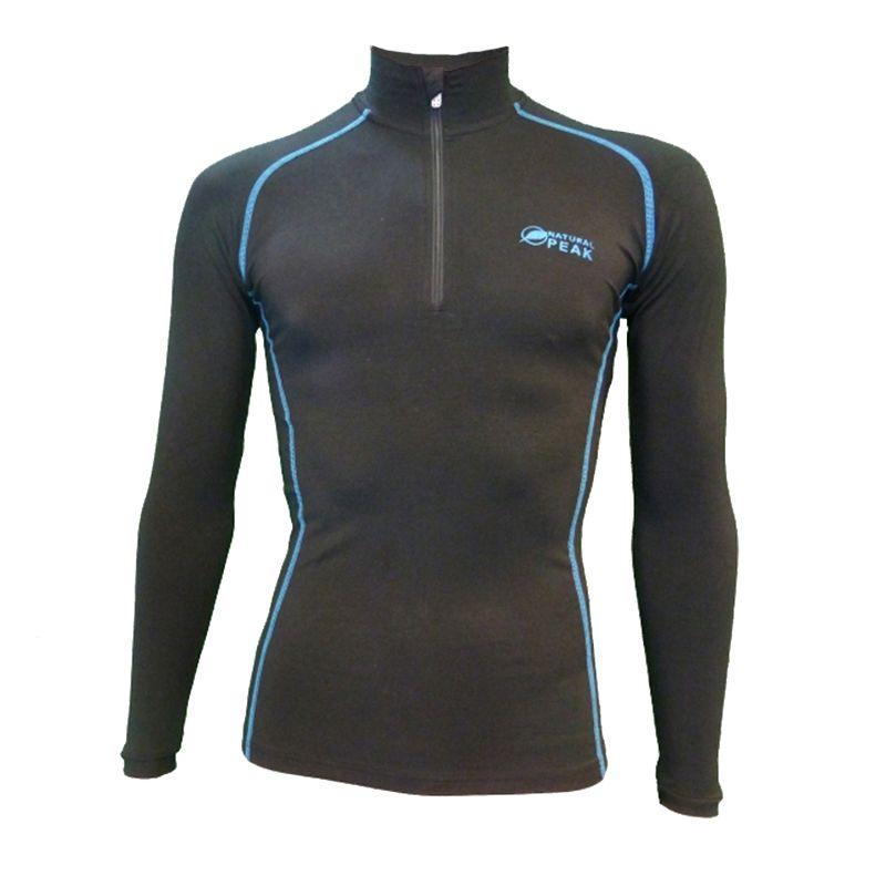 Base Layer « POINTE BLANCHE » Homme Noir/Bleu (S - M)  - Le Base Layer zippé homme « Pointe Blanche » de Natural Peak® Vous offr