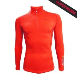 Base Layer « POINTE BLANCHE » Homme Orange  - Le Base Layer zippé homme « Pointe Blanche » de Natural Peak® Super Warm !Vous off