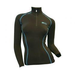 Base Layer « AIGUILLE VERTE » Femme Noir/Bleu (XS - S)  - Le Base Layer zippé femme « Aiguille Verte » de Natural Peak®Vous off